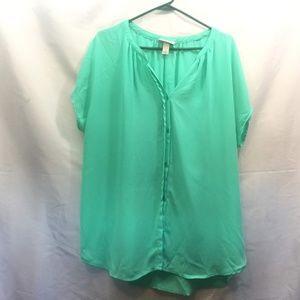 Ava & Viv Size 1X Teal Blue Short Sleeve Blouse